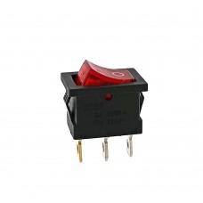 Кнопка АВаТар квадратна 3 контакту маленька червона з підсвічуванням 6А(при 220В)