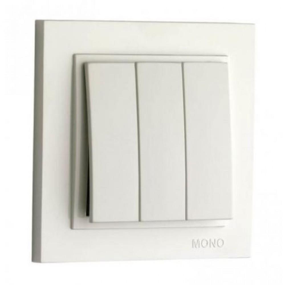 Вимикач трьохклавішні Mono Electric серії Despina 10А Білий