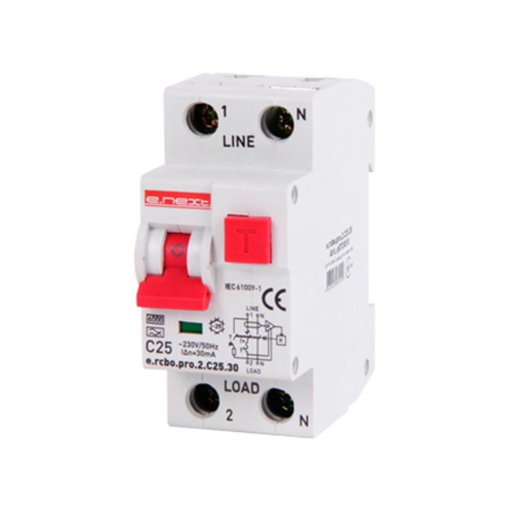 Диференціальний автомат E. NEXT e.rcbo.pro 1P+N 25А 6кА тип С